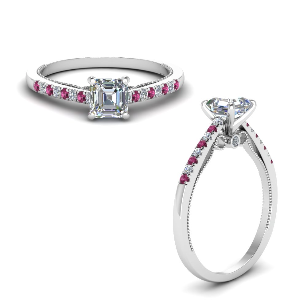 asscher cut high set milgrain diamond engagement ring with pink sapphire in FDO50845ASRGSADRPIANGLE1 NL WG