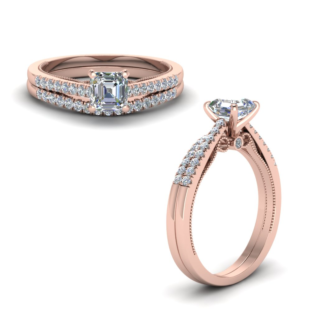 Rose Gold Asscher Diamond Wedding Sets
