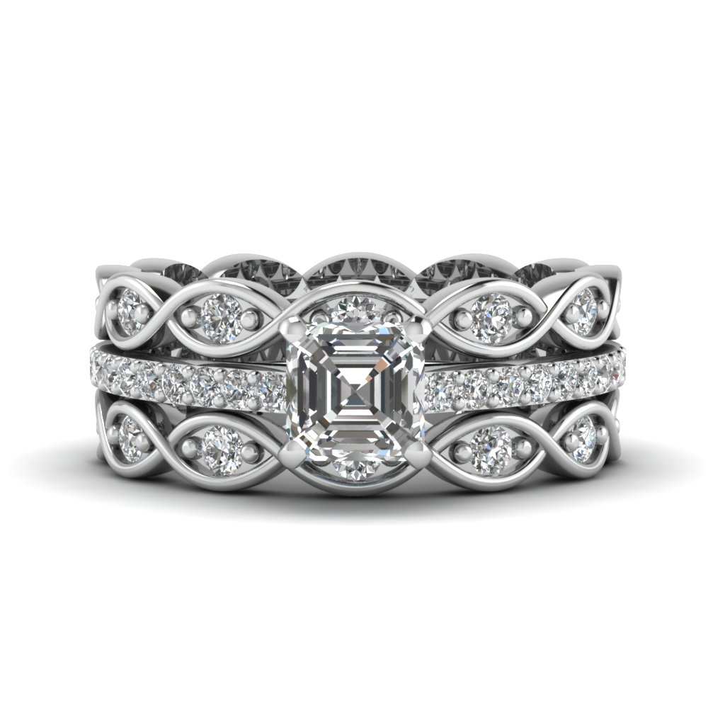 asscher cut trio infinity band diamond ring sets in FD8047TASANGLE1 NL WG