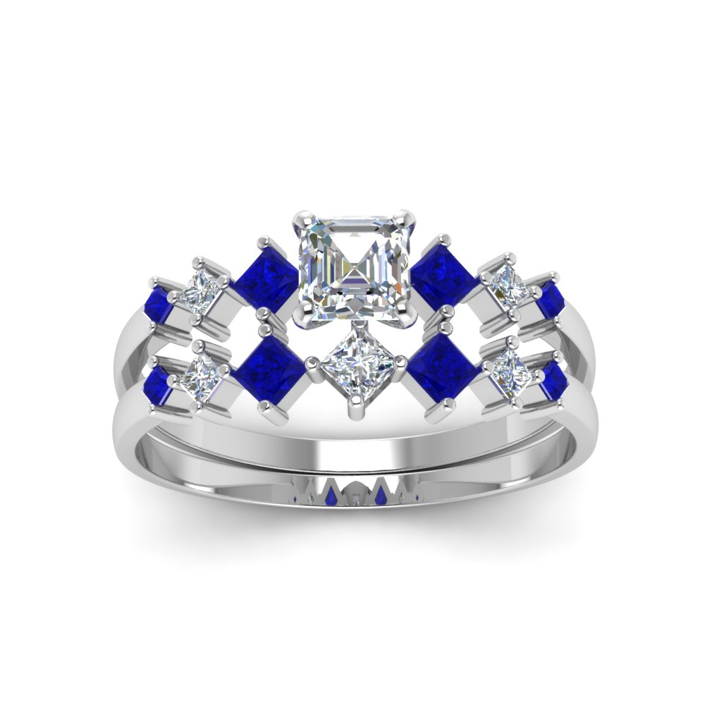 sapphire pure bridal plated s asscher women rhodium silver sterling set pre ring cut