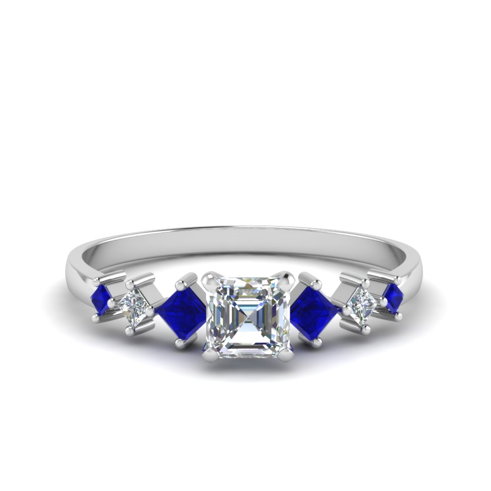 asscher cut kite set diamond ring with sapphire in 18K white gold FDENS3126ASRGSABL NL WG