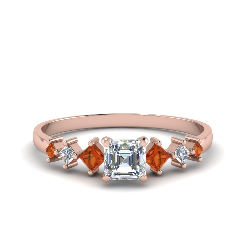 asscher cut kite set diamond ring with orange sapphire in 18K rose gold FDENS3126ASRGSAOR NL RG