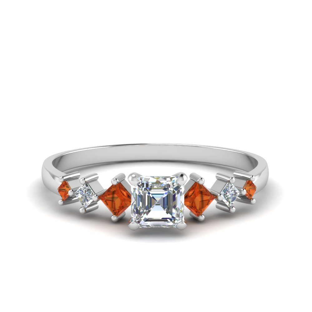 asscher cut kite set diamond ring with orange sapphire in 18K white gold FDENS3126ASRGSAOR NL WG