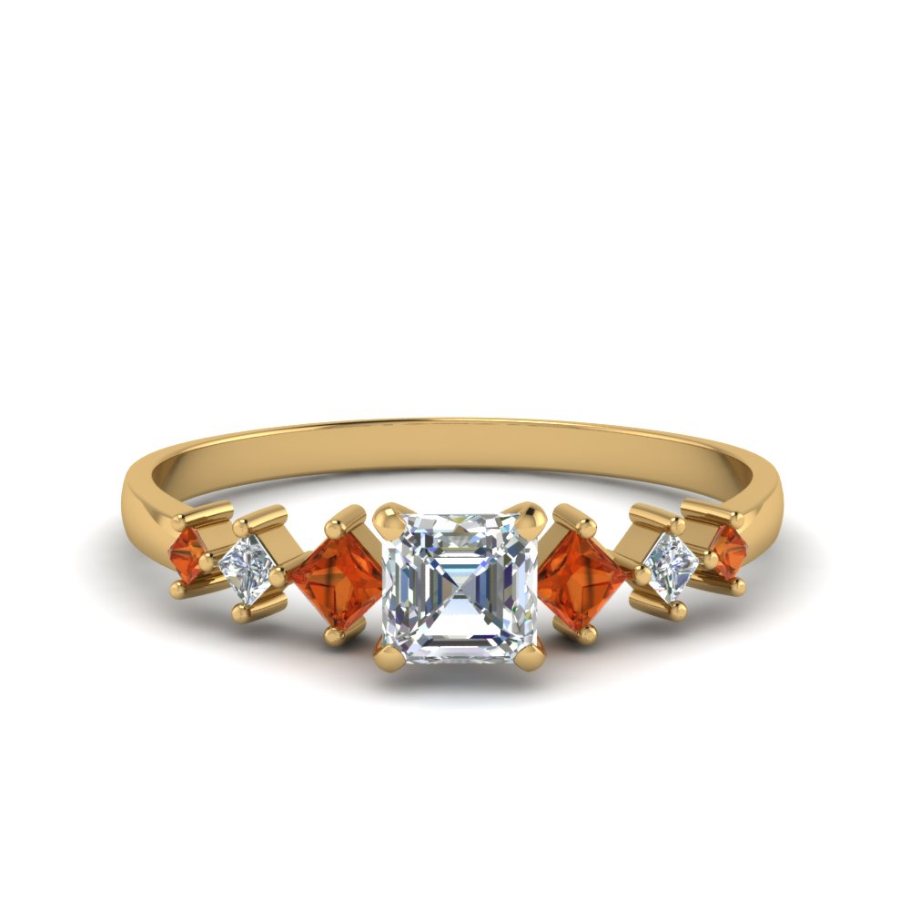 asscher cut kite set diamond ring with orange sapphire in 18K yellow gold FDENS3126ASRGSAOR NL YG