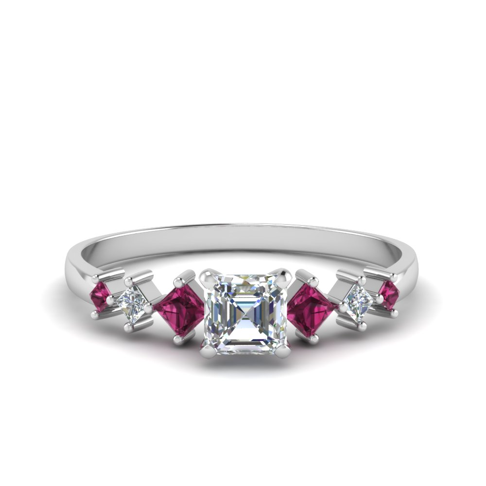 asscher cut kite set diamond ring with pink sapphire in 14K white gold FDENS3126ASRGSADRPI NL WG