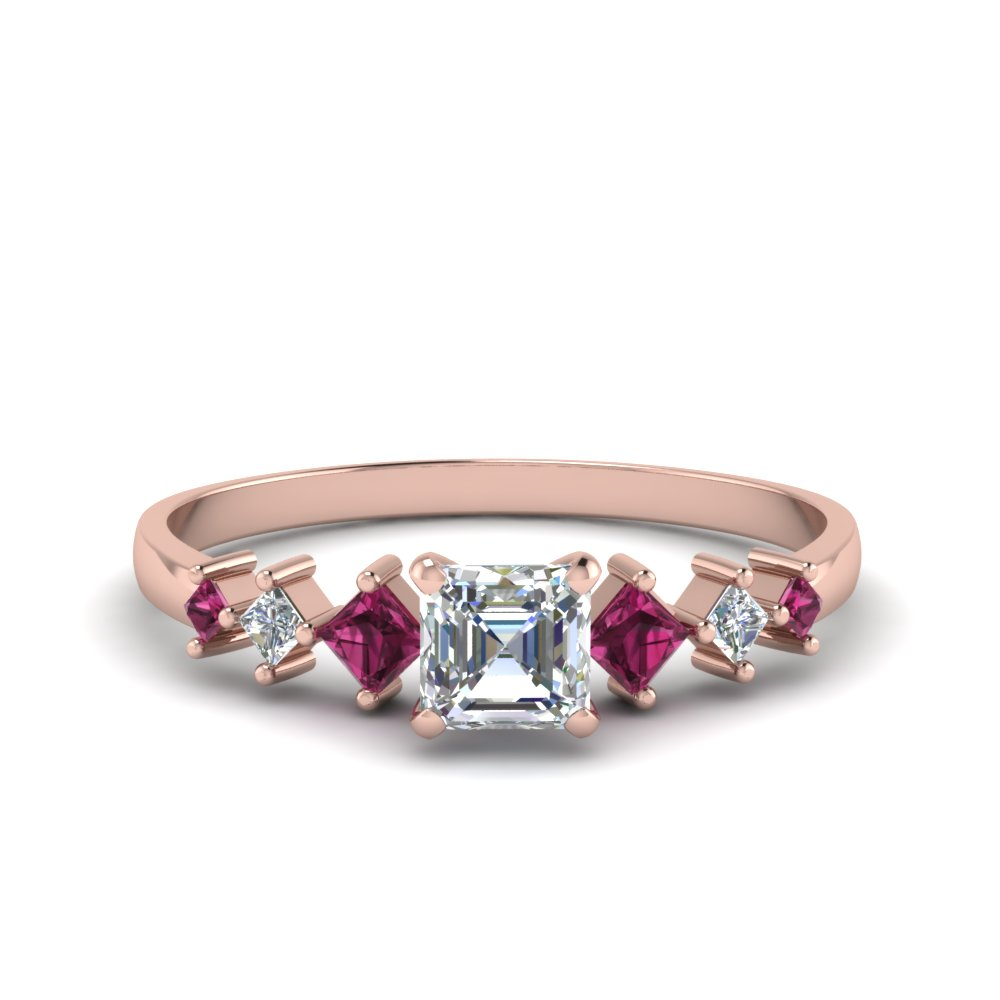 asscher cut kite set diamond ring with pink sapphire in 18K rose gold FDENS3126ASRGSADRPI NL RG