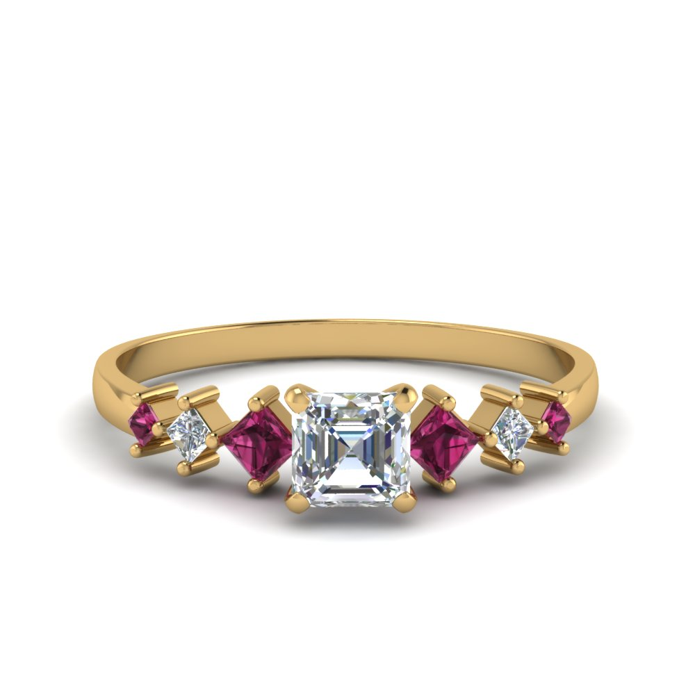 asscher cut kite set diamond ring with pink sapphire in 18K yellow gold FDENS3126ASRGSADRPI NL YG