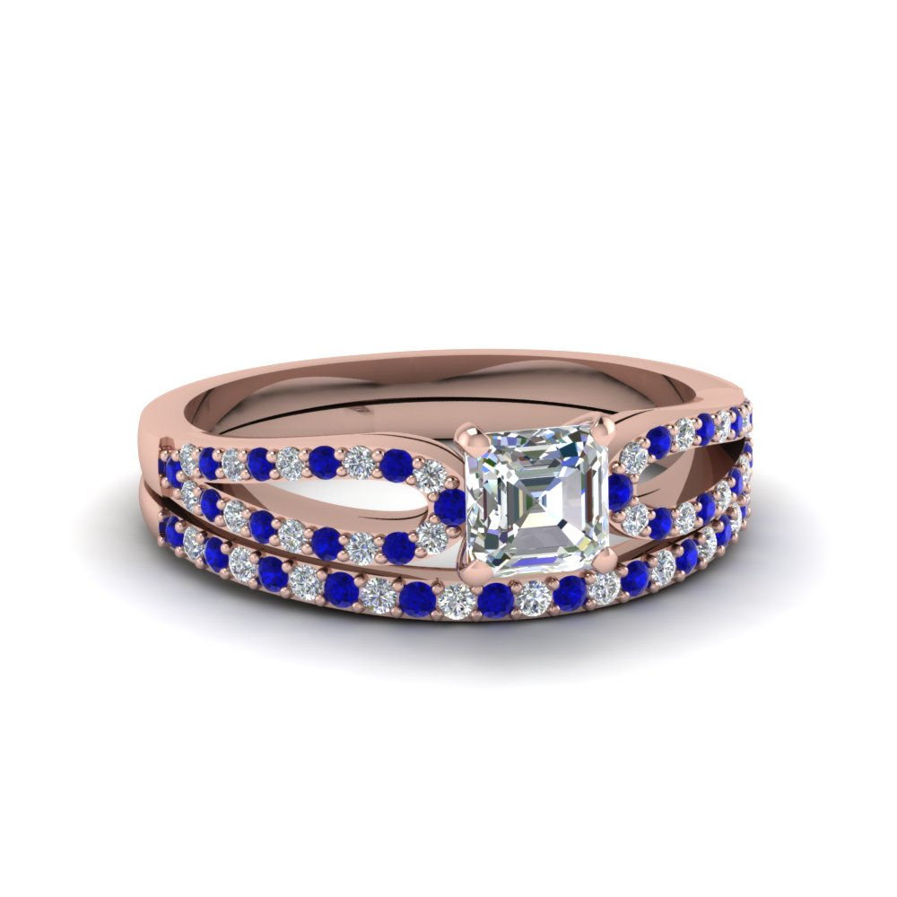 asscher cut loop diamond ring with sapphire matching band in 14K rose gold FDENS3323ASGSABL NL RG