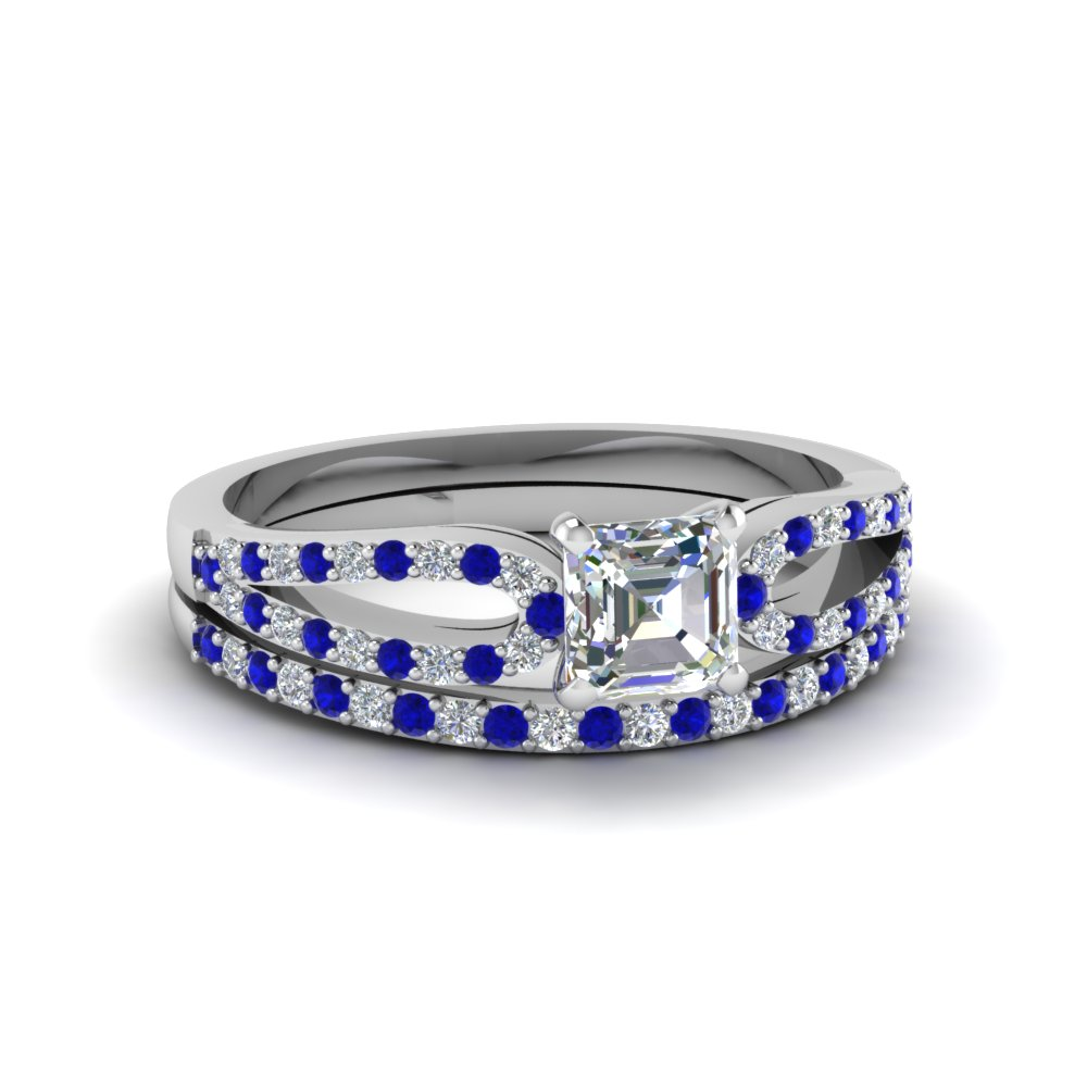 asscher cut loop diamond ring with sapphire matching band in 14K white gold FDENS3323ASGSABL NL WG