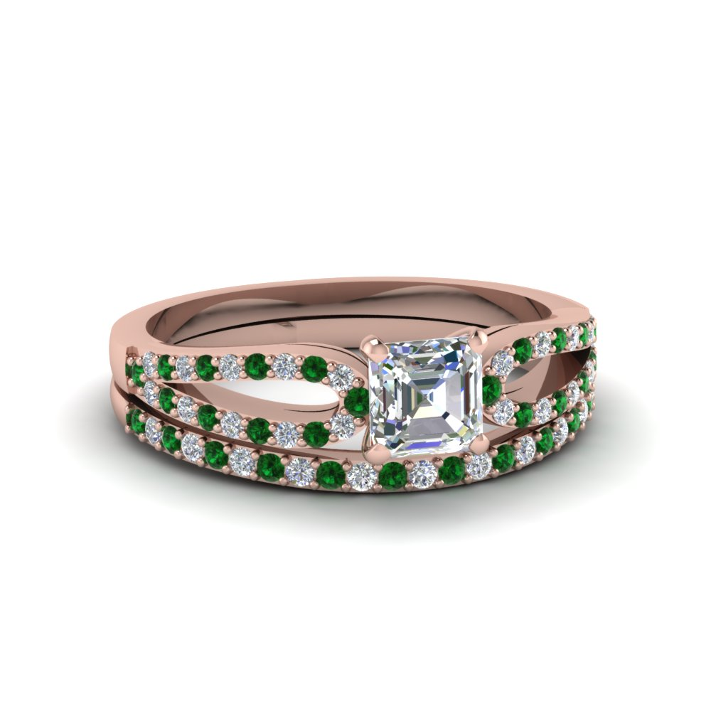 asscher cut loop diamond ring with emerald matching band in 18K rose gold FDENS3323ASGEMGR NL RG