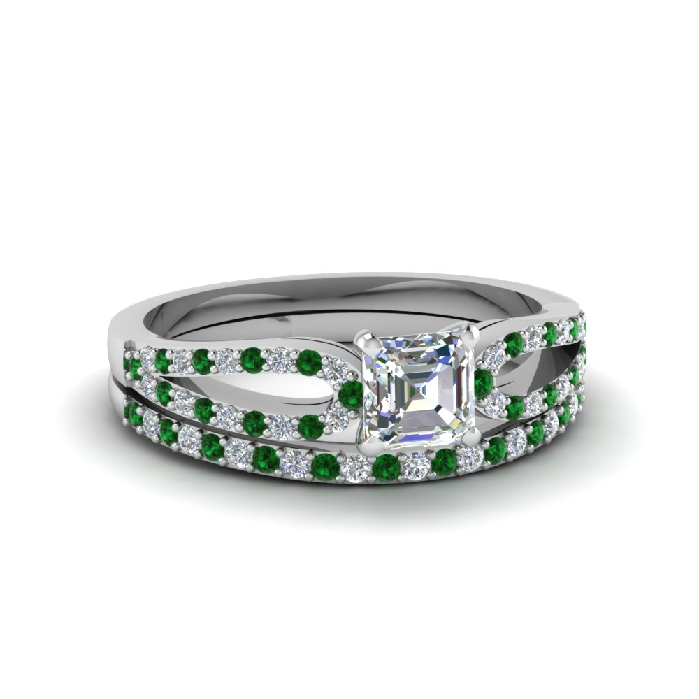 asscher cut loop diamond ring with emerald matching band in 18K white gold FDENS3323ASGEMGR NL WG