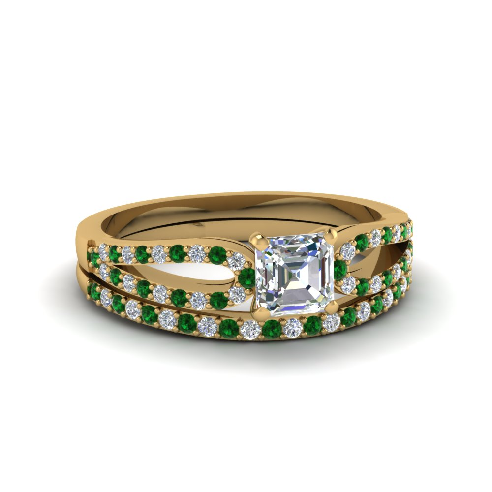 asscher cut loop diamond ring with emerald matching band in 18K yellow gold FDENS3323ASGEMGR NL YG