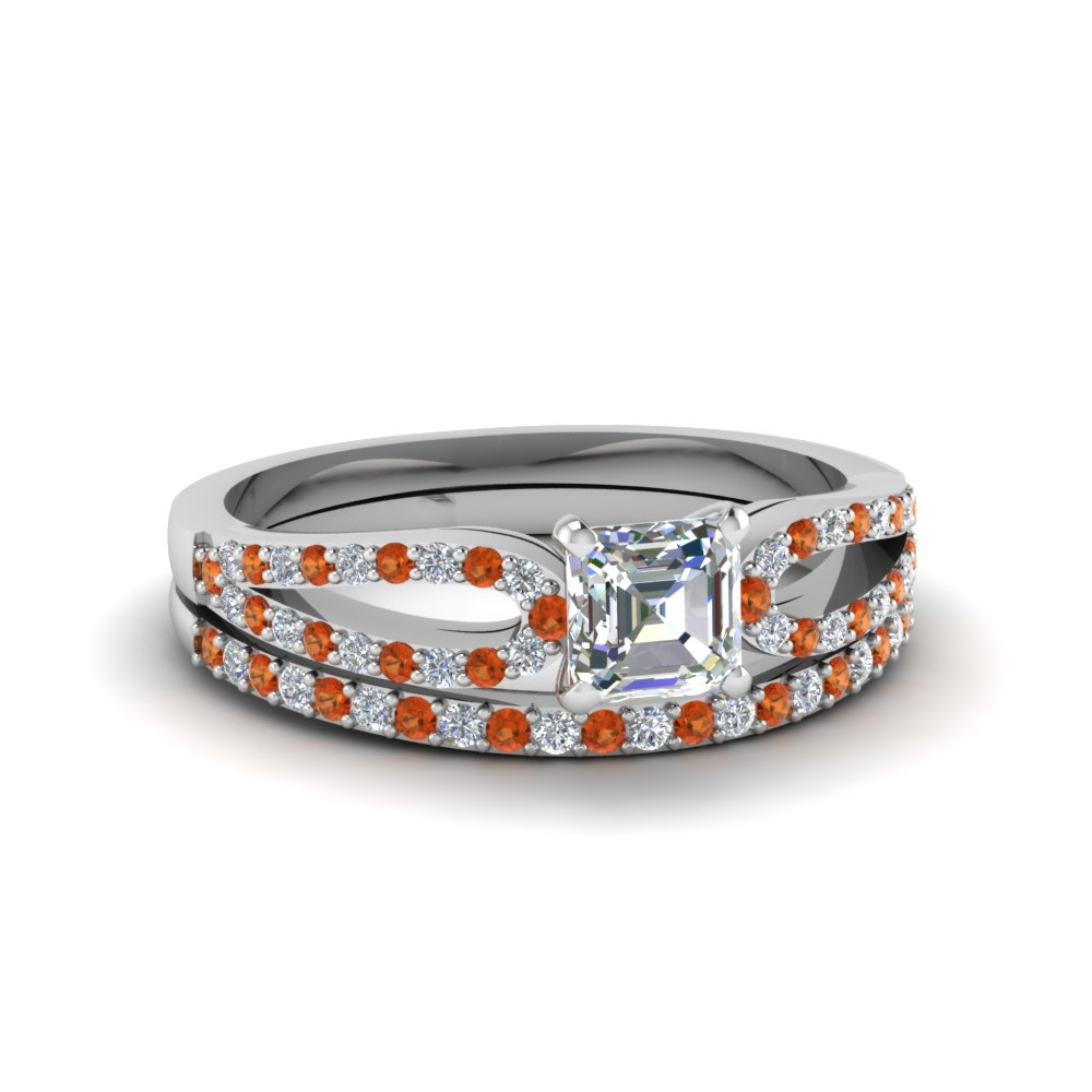 asscher cut loop diamond ring with orange sapphire matching band in 14K white gold FDENS3323ASGSAOR NL WG