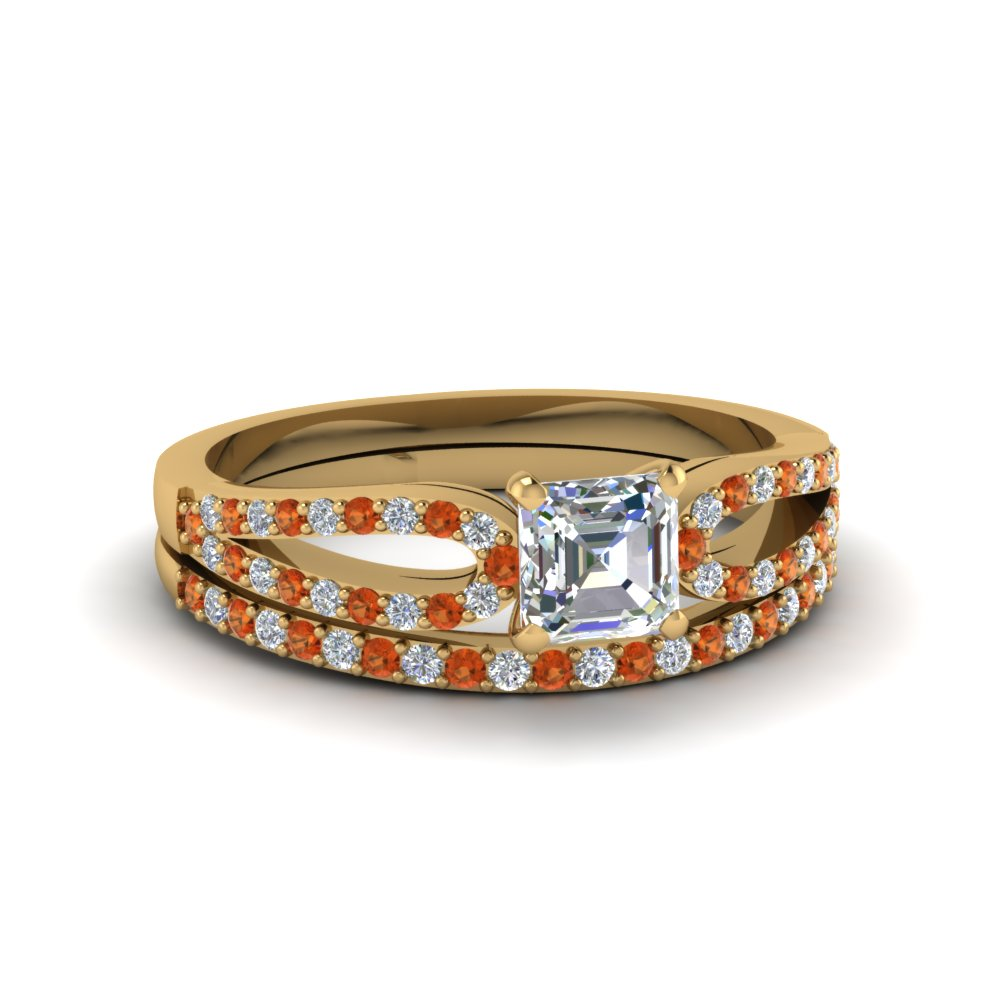 asscher cut loop diamond ring with orange sapphire matching band in 18K yellow gold FDENS3323ASGSAOR NL YG