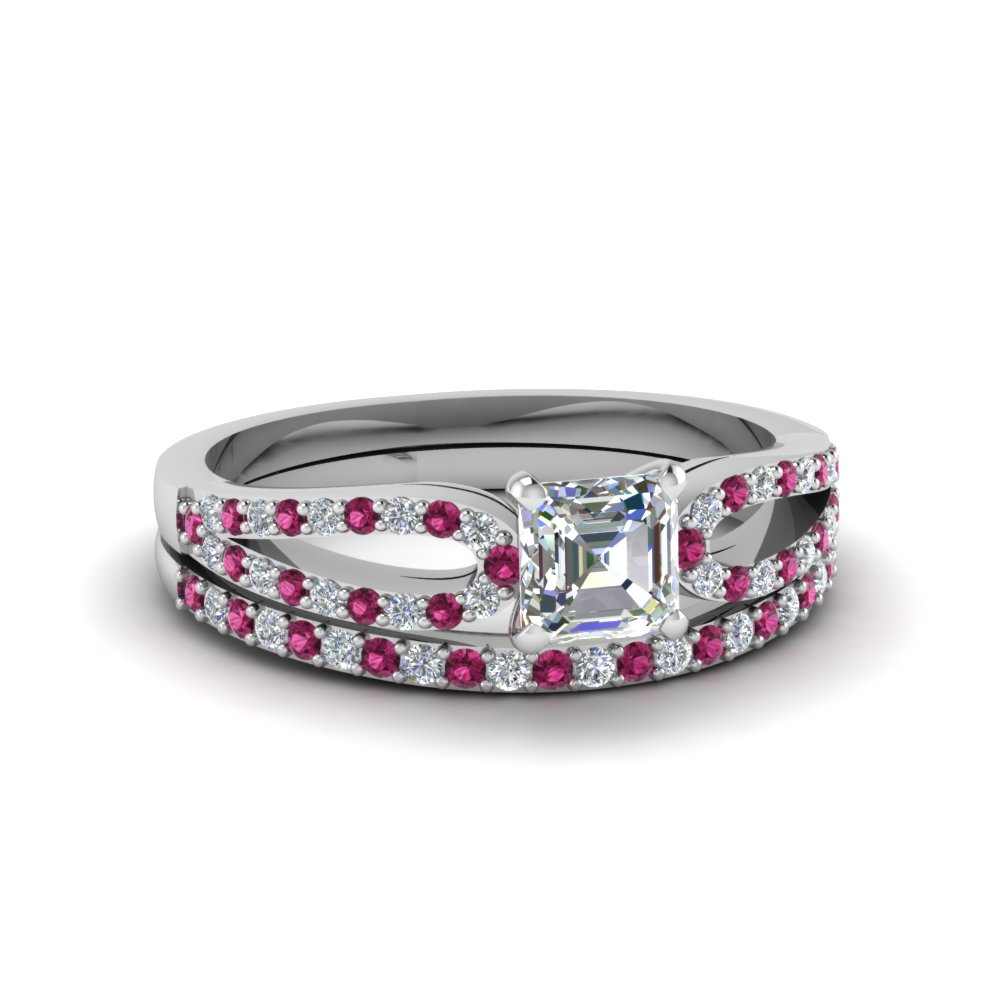 asscher cut loop diamond ring with pink sapphire matching band in 18K white gold FDENS3323ASGSADRPI NL WG