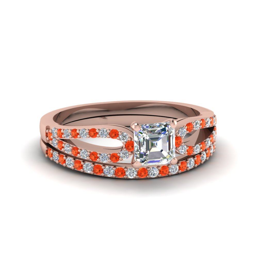 asscher cut loop diamond ring with orange topaz matching band in 14K rose gold FDENS3323ASGPOTO NL RG