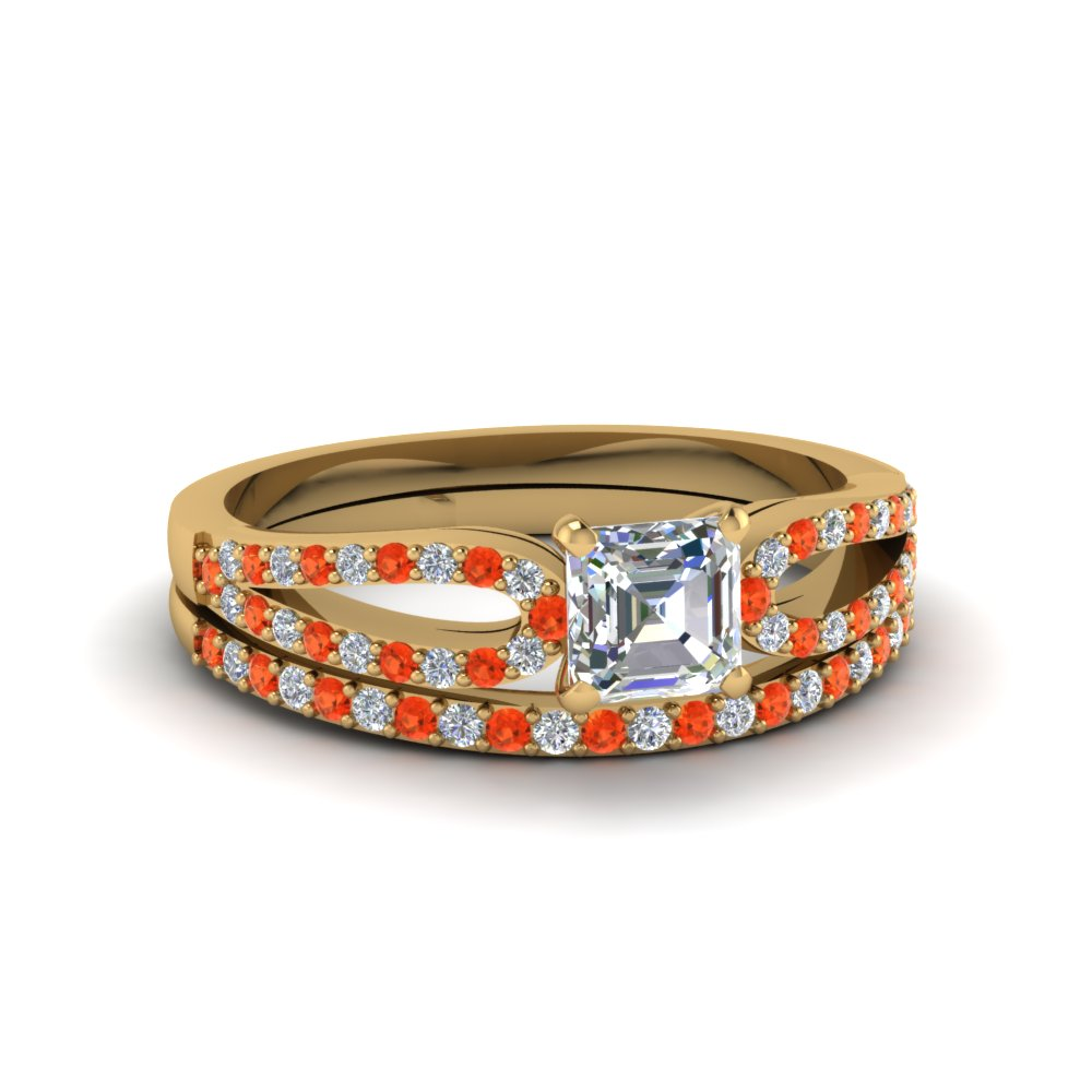 asscher cut loop diamond ring with orange topaz matching band in 14K yellow gold FDENS3323ASGPOTO NL YG