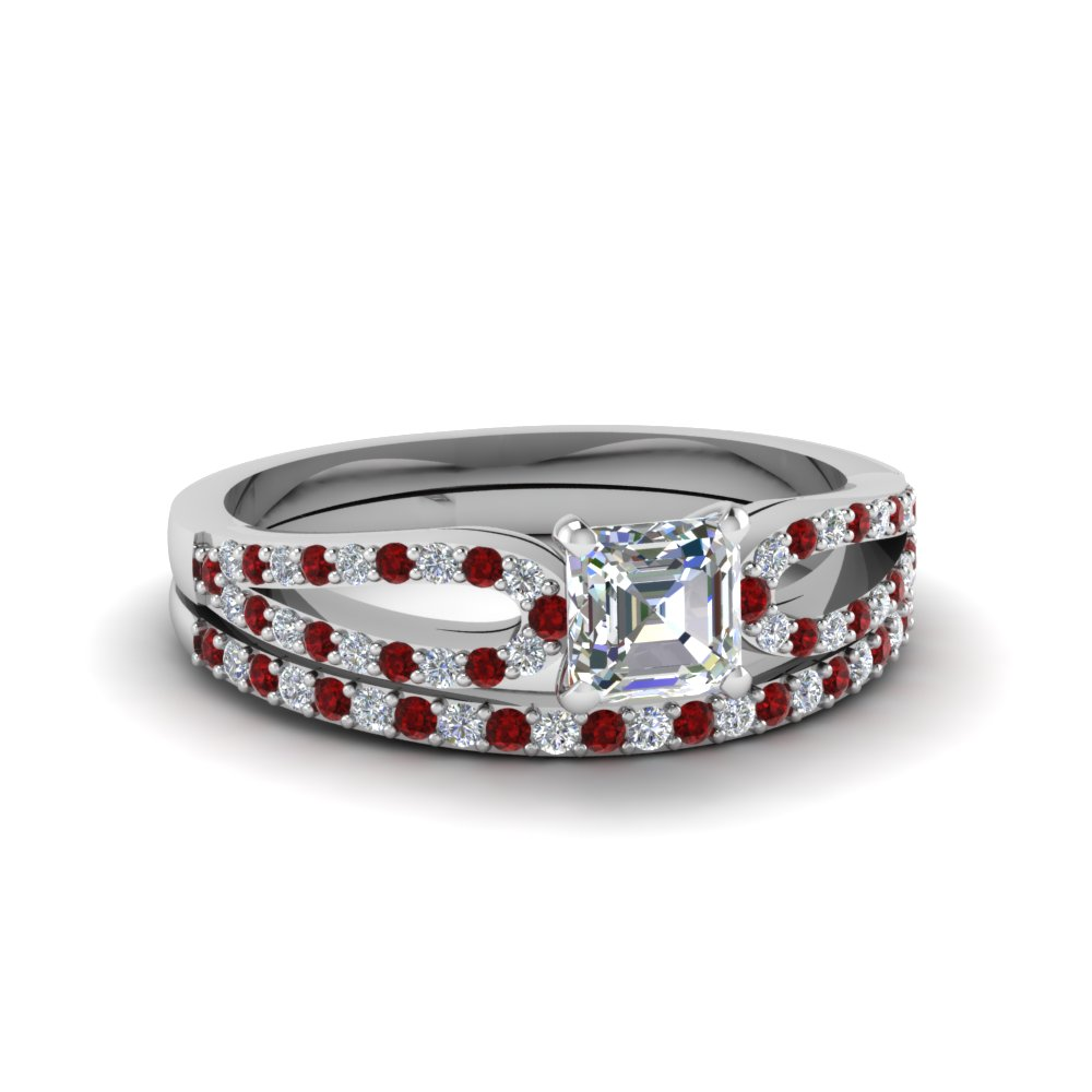 asscher cut loop diamond ring with ruby matching band in 14K white gold FDENS3323ASGRUDR NL WG