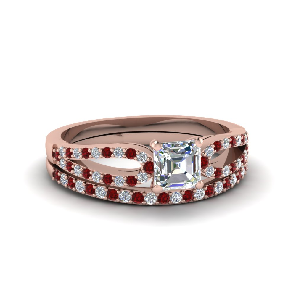 asscher cut loop diamond ring with ruby matching band in 18K rose gold FDENS3323ASGRUDR NL RG