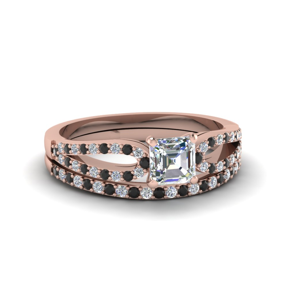 asscher cut loop ring with black diamond matching band in 14K rose gold FDENS3323ASGBLACK NL RG