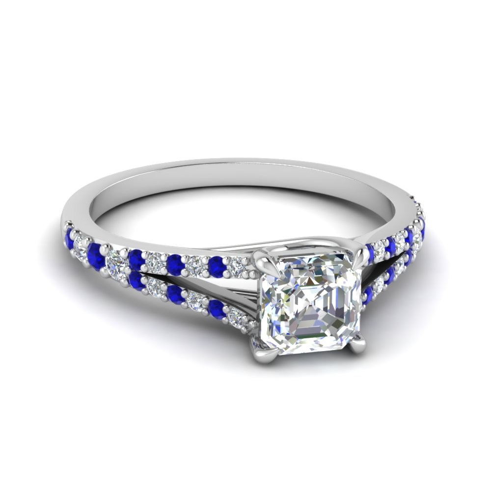Asscher Cut Square Split Ring