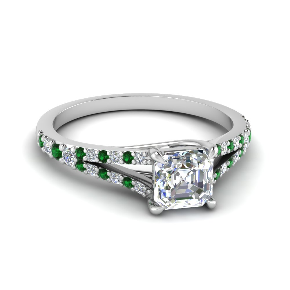 asscher cut lucida square split diamond ring with emerald in FD1027ASRGEMGR NL WG