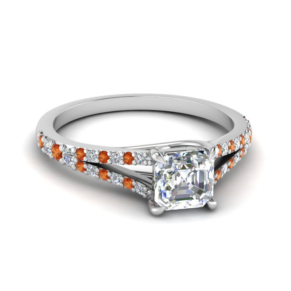 Asscher Cut Split Shank Ring