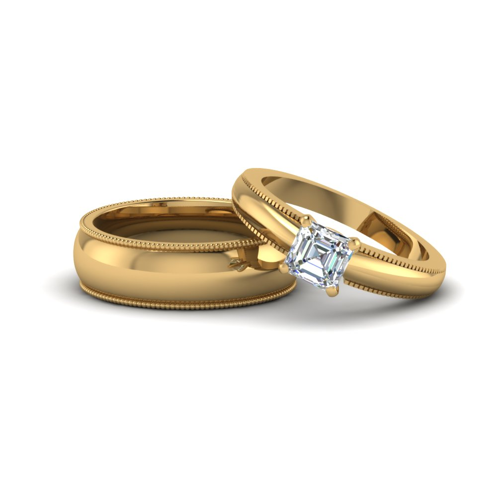 asscher cut matching wedding anniversary ring with band for him and her in 14K yellow gold FD8140B NL YG