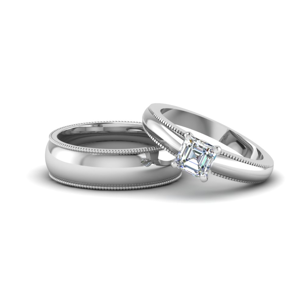 Cher Cut Matching Wedding Anniversary Ring With Band For Him And Her In 18k White Gold