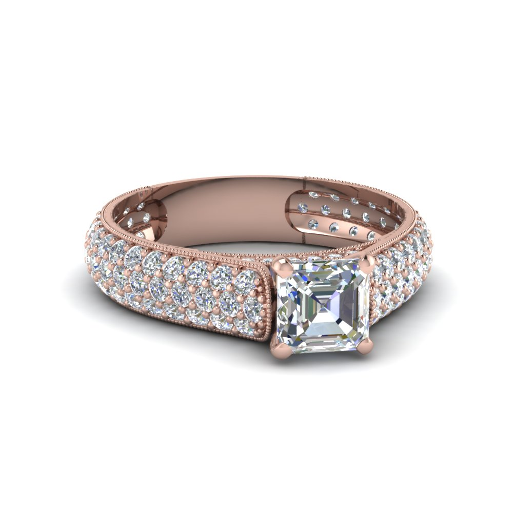 asscher cut milgrain multi row pave diamond engagement ring in 14K rose gold FDENS1452ASR NL RG