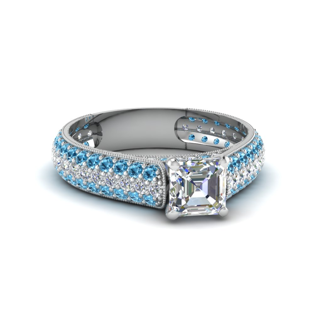 asscher cut milgrain multi row pave diamond engagement ring with blue topaz in 14K white gold FDENS1452ASRGICBLTO NL WG