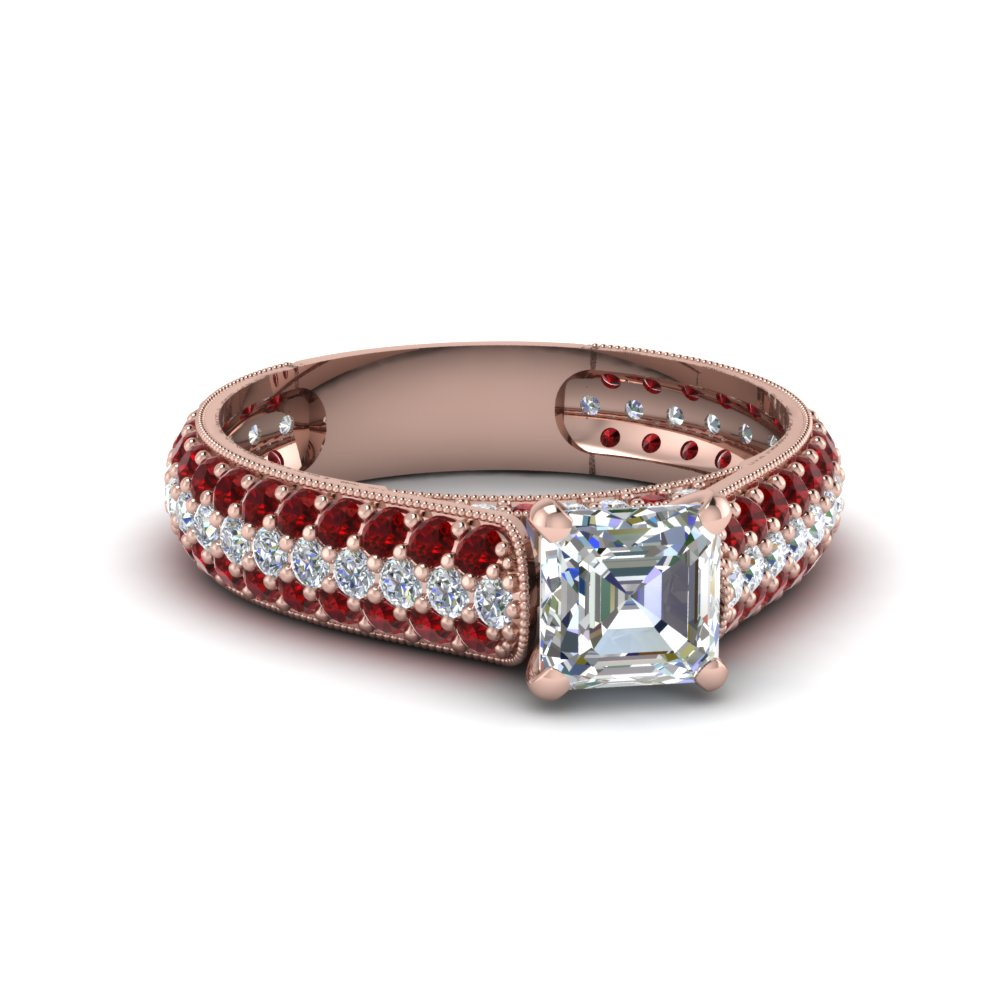 asscher cut milgrain multi row pave diamond engagement ring with ruby in 18K rose gold FDENS1452ASRGRUDR NL RG
