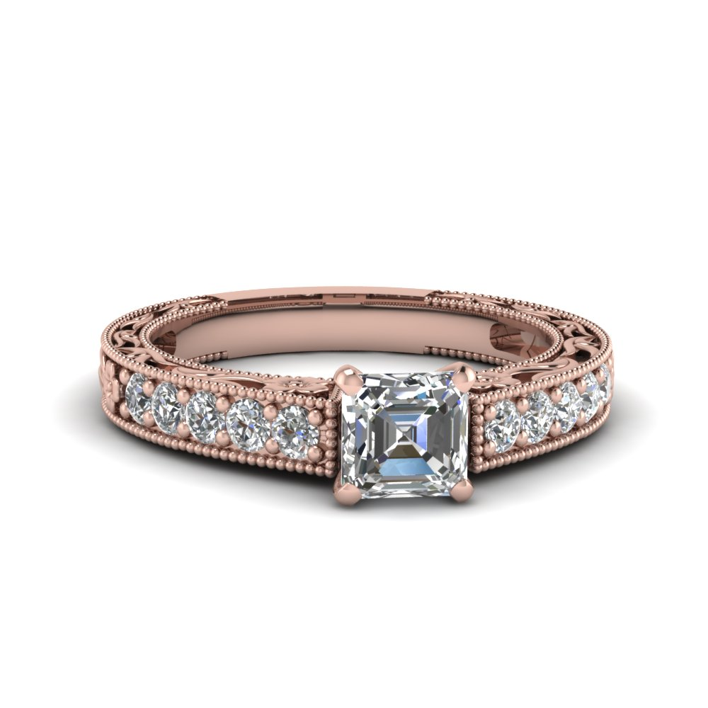 Rose Gold Asscher Cut Vintage Rings