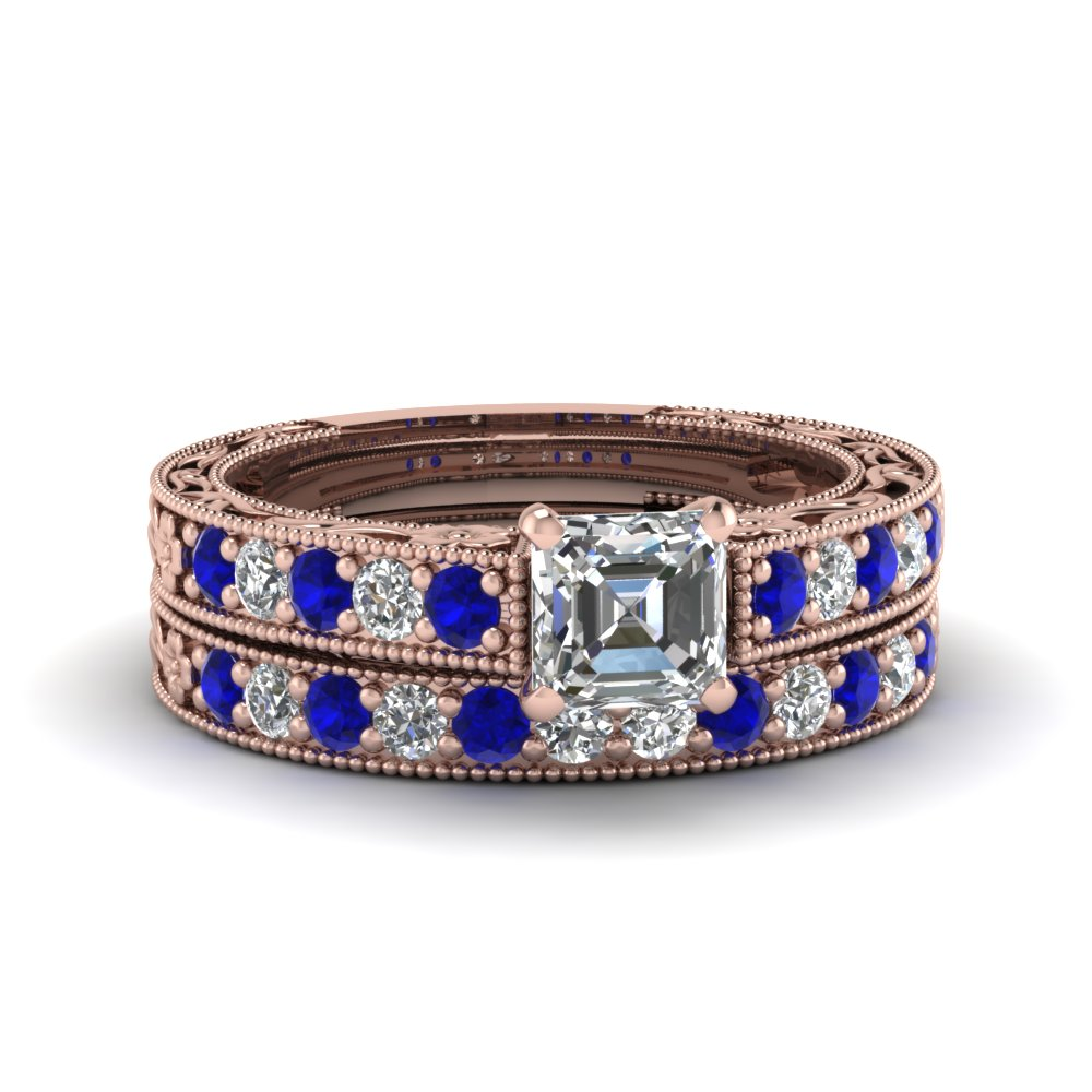 asscher cut milgrain pave diamond wedding ring sets with sapphire in FDENS3506ASGSABL NL RG