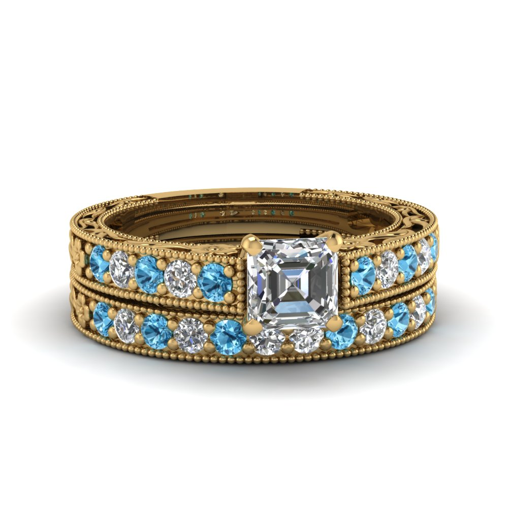 asscher cut milgrain pave lab diamond wedding ring sets with blue topaz in FDENS3506ASGICBLTO NL YG