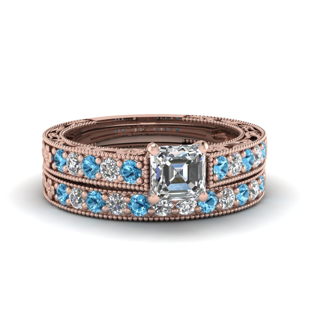 asscher cut milgrain pave diamond wedding ring sets with blue topaz in FDENS3506ASGICBLTO NL RG