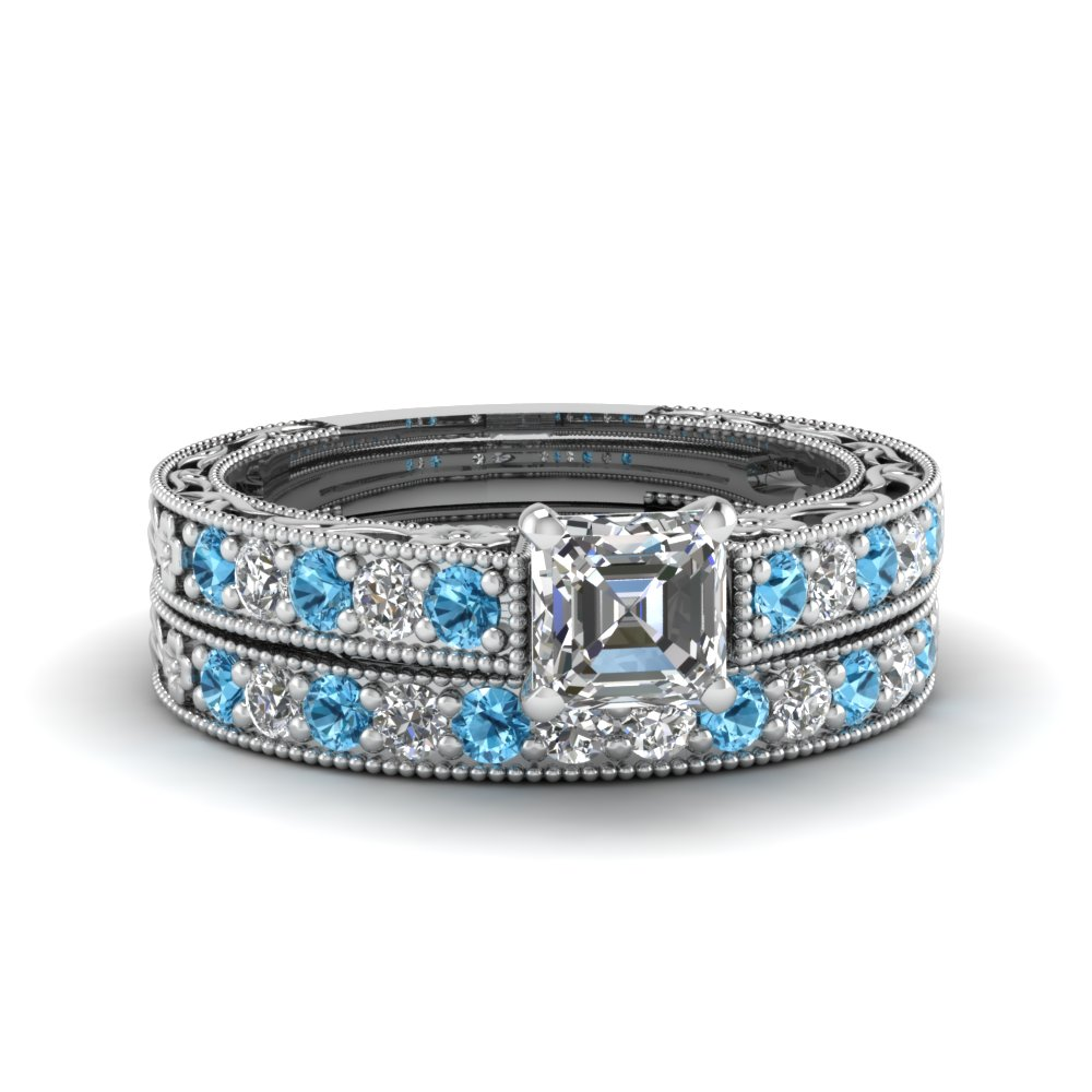 asscher cut milgrain pave diamond wedding ring sets with blue topaz in FDENS3506ASGICBLTO NL WG