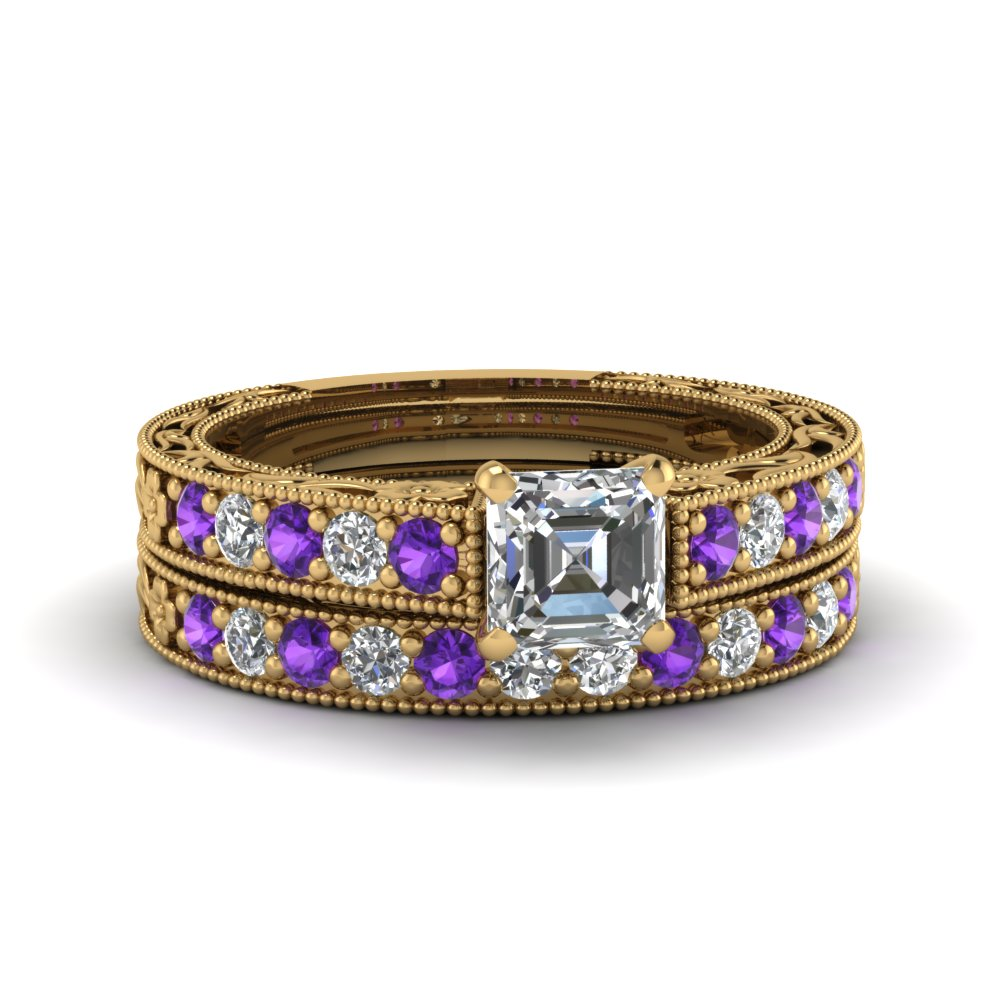 asscher cut milgrain pave moissanite wedding ring sets with purple topaz in FDENS3506ASGVITO NL YG