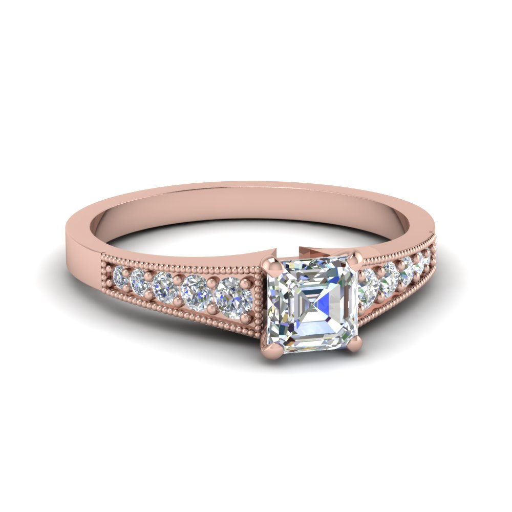 14k Rose Gold Asscher Diamond Ring