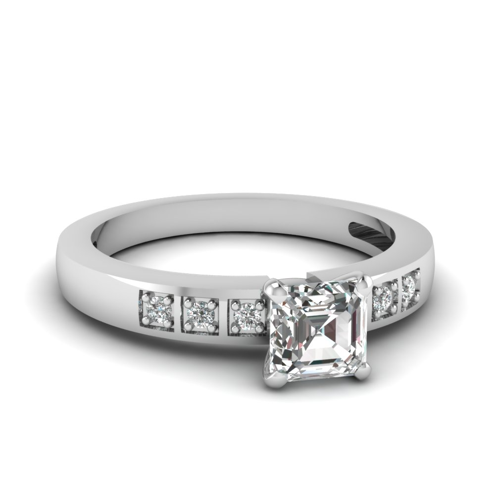 Petite Block Accent Diamond Ring