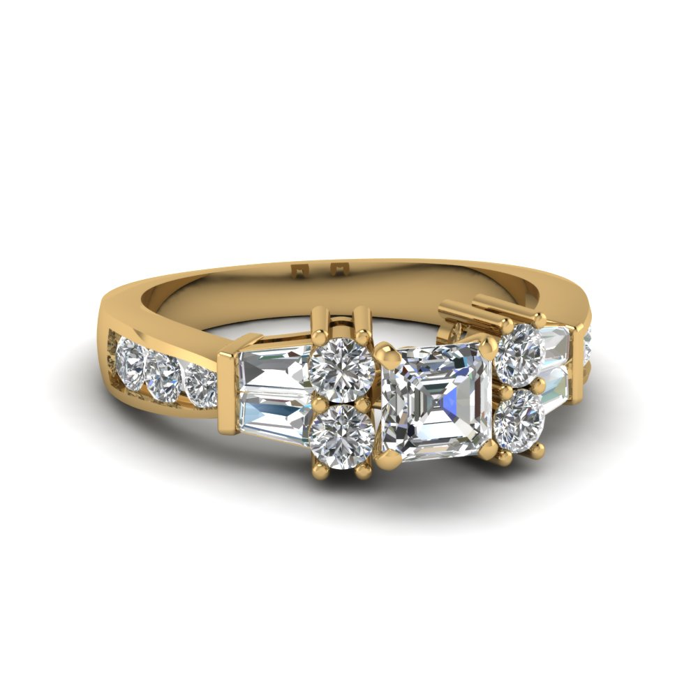 asscher cut pave and baguette bar set diamond engagement ring in 14K yellow gold FDENR6171ASR NL YG