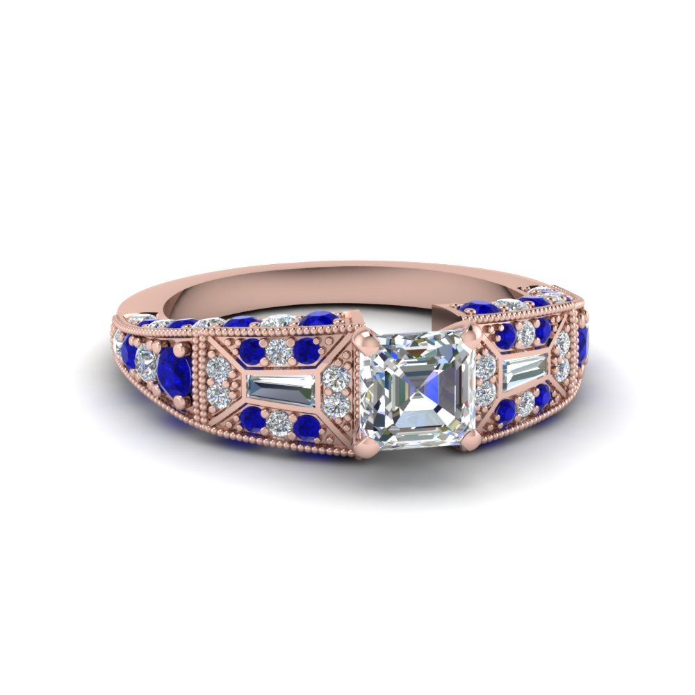 asscher cut victorian vintage style diamond engagement ring with sapphire in FDENR8601ASRGSABL NL RG