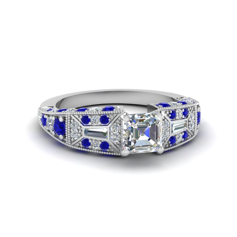 asscher cut victorian vintage style diamond engagement ring with sapphire in FDENR8601ASRGSABL NL WG