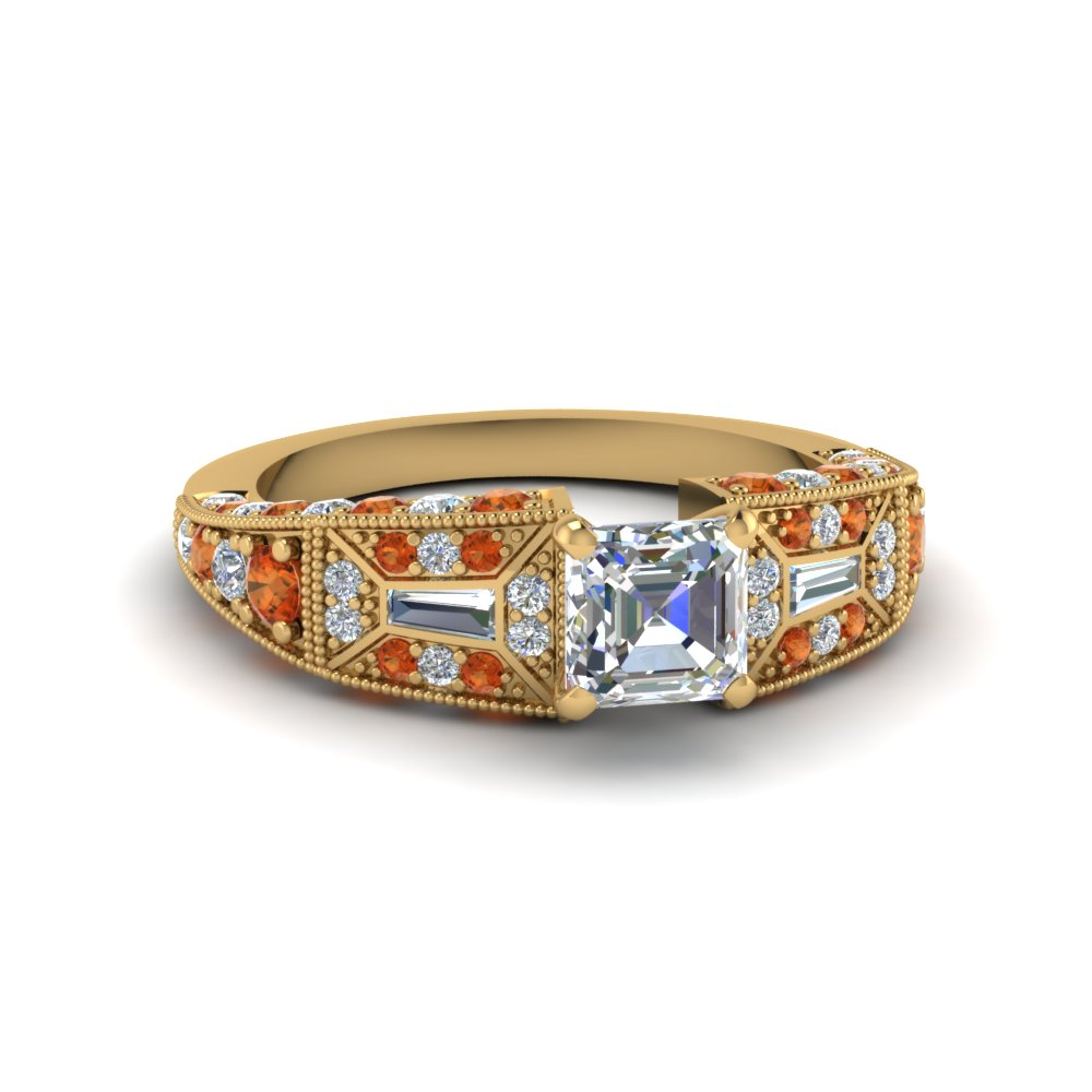 asscher cut victorian vintage style diamond engagement ring with orange sapphire in FDENR8601ASRGSAOR NL YG