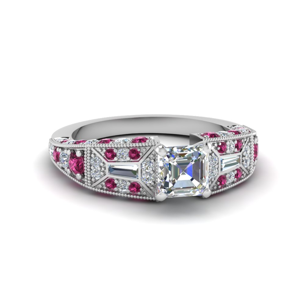 asscher cut victorian vintage style diamond engagement ring with pink sapphire in FDENR8601ASRGSADRPI NL WG