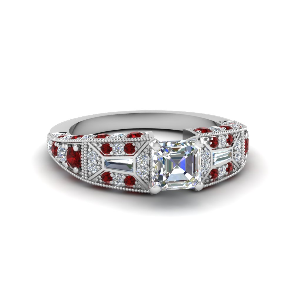 asscher cut victorian vintage style diamond engagement ring with ruby in FDENR8601ASRGRUDR NL WG