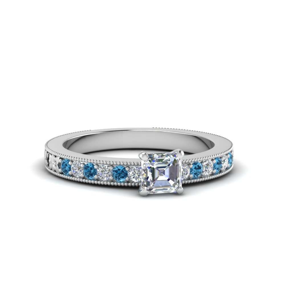 asscher cut pave diamond milgrain engagement ring with ice blue topaz in FDENS3516ASRGICBLTO NL WG