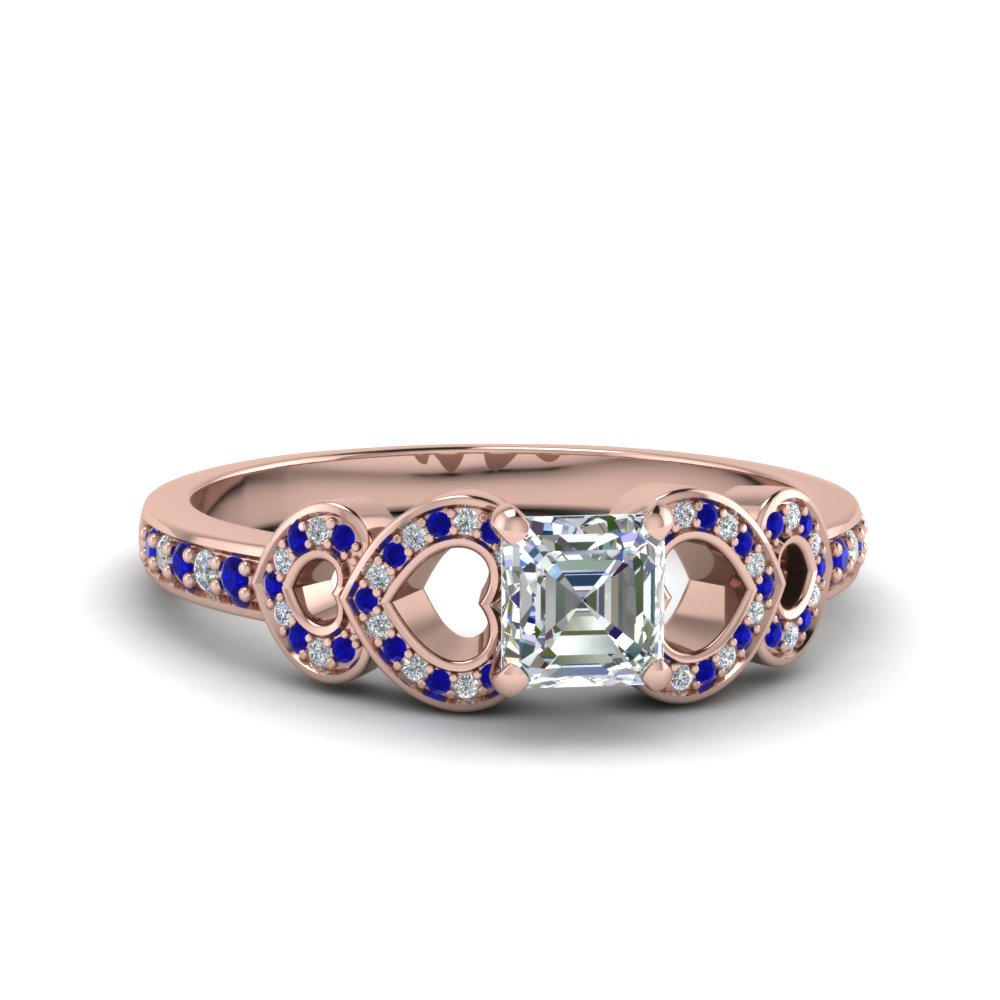Sapphire Pave Heart Design Ring