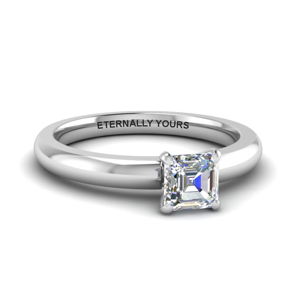 classic asscher diamond solitaire engagement ring in FDENR8027ASR NL WG EG