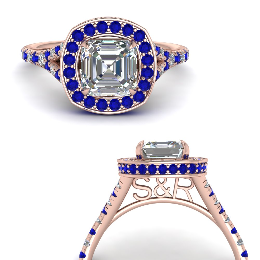 asscher-cut-personalized-under-halo-diamond-engagement-ring-with-sapphire-in-FD9152ASRGSABLANGLE3-NL-RG